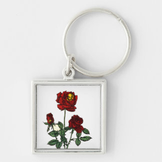 Rose for Life Silver-Colored Square Keychain