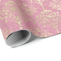 Rose Foxier Metallic Damask Gold Princess Pink Wrapping Paper