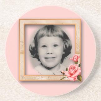 Rose Frame Memorial Photo Coaster Customizable
