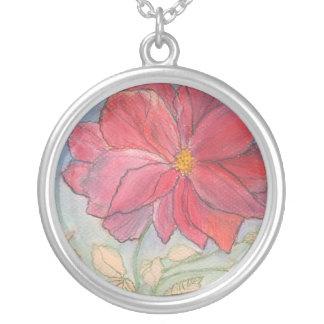 Rose Full Bloom Round Pendant Necklace