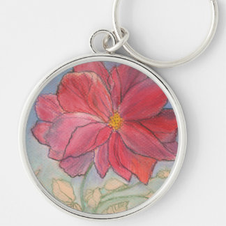 Rose Full Bloom Silver-Colored Round Keychain