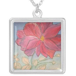 Rose Full Bloom Square Pendant Necklace
