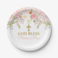 Rose Garden Baptism Personalized Paper Plates