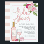 "Ros&#233; Garden | Bridal Shower Invitation<br><div class=""desc"">Elegant and modern bridal shower invitation for wine lovers features accents of roses in white, blush and fuchsia pink with lush greenery peeking out, and a bottle and glass of ros&#233; wine. Personalize with your bridal shower details in elegant blush and gray-blue typography accented with handwritten style calligraphy, and customize...</div>"