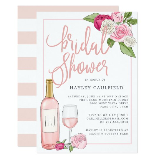 ros garden bridal shower invitation
