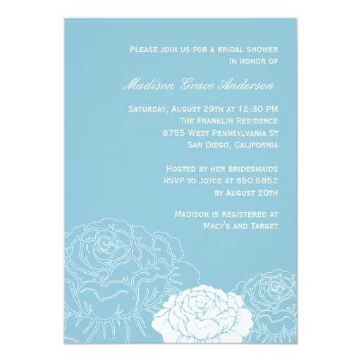 "Rose Garden Bridal Shower Invitation - Soft Blue 5"" X 7"" Invitation Card"