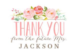 rose garden bridal shower thank you card