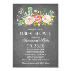 Rose Garden Chalkboard | Bridal Shower Card at Zazzle