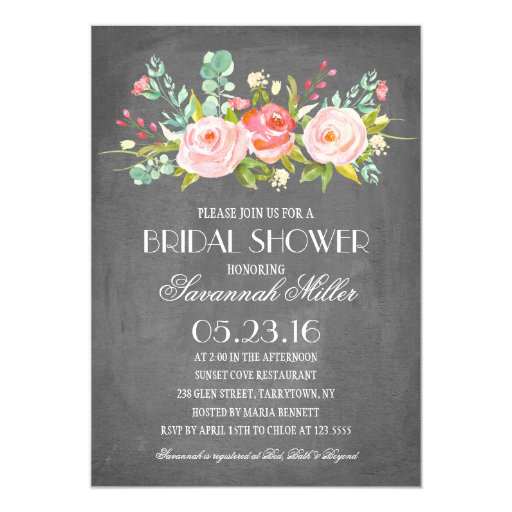 Rose Garden Chalkboard Bridal Shower Invitation
