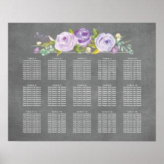 Rose Garden Chalkboard Wedding Seating Chart Poster