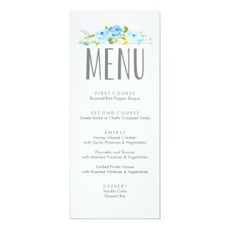 Rose Garden Floral Blue Menu Card
