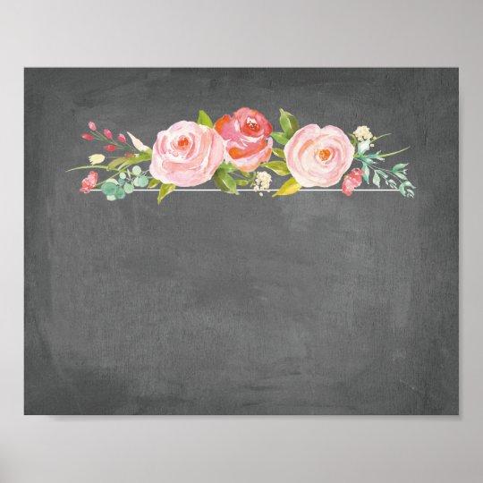 rose garden floral chalkboard blank sign
