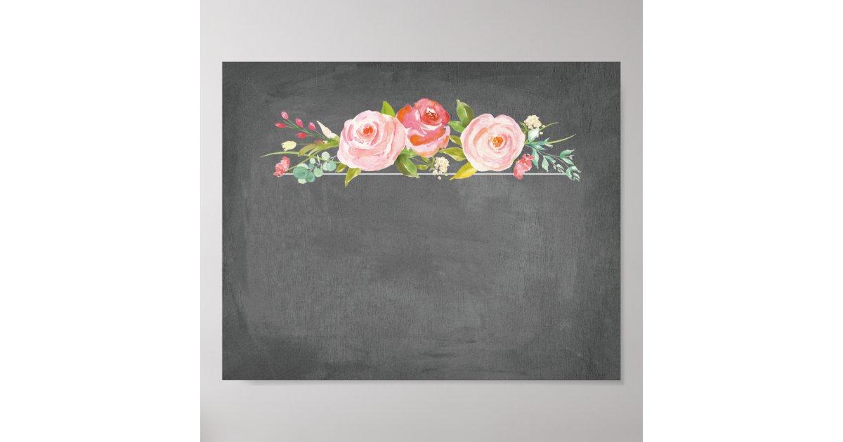 Rose Garden Floral Chalkboard Blank Sign Zazzle Com