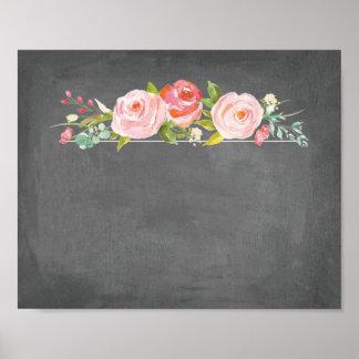 Rose Garden Floral Chalkboard Blank Sign Poster