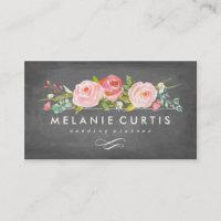 Rose Garden Floral Chalkboard Business Card