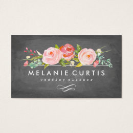 Rose Garden Floral Chalkboard Business Card