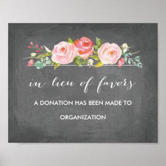 Rose Garden Floral Chalkboard in lieu of Favors Poster