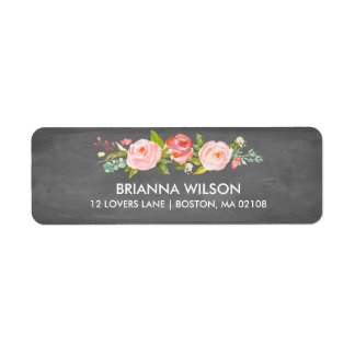 Rose Garden Floral Chalkboard Return Address Label