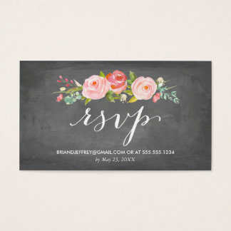 Rose Garden Fl Chalkboard Wedding Email Rsvp Business Card