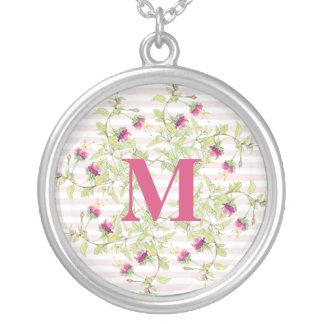 Rose Garden Floral Monogram Silver Round Necklace
