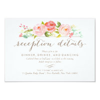 Rose Garden Floral Reception Wedding Card