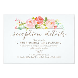 Rose Garden Floral Reception Wedding Card