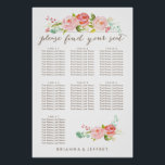 "Rose Garden Floral Seating Chart | 7 Tables<br><div class=""desc"">Seating Chart for 7 tables featuring watercolor roses.</div>"