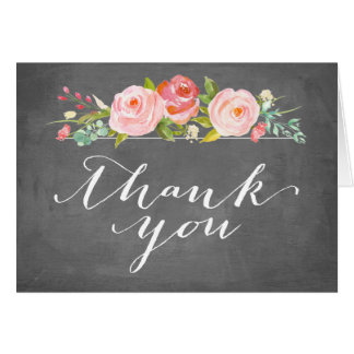 Rose Garden Floral Thank You Chalkboard Card