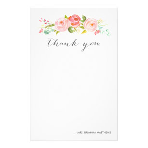 Rose Garden Floral Thank You Personalized Stationery