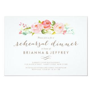Rose Garden Floral Wedding Rehearsal Dinner Card