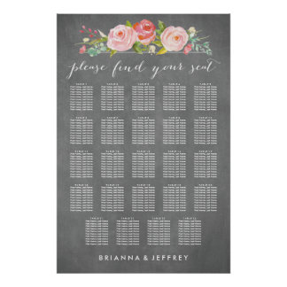 Rose Garden Floral Wedding Seating Chart