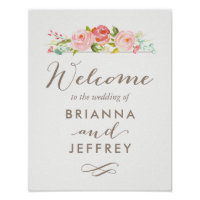 Rose Garden Floral Wedding Welcome Sign