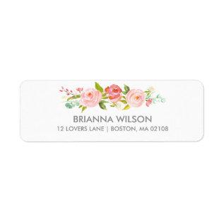Rose Garden Floral White Return Address Label at Zazzle