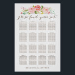 "Rose Garden Floral White Seating Chart Poster<br><div class=""desc"">This seating chart features watercolor flowers and a pretty script font with a white background,  perfect for weddings or any special occasion.</div>"
