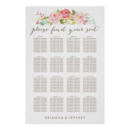 Rose Garden Floral White Seating Chart Poster