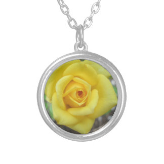 Rose Garden Flower Mini Yellow Round Pendant Necklace