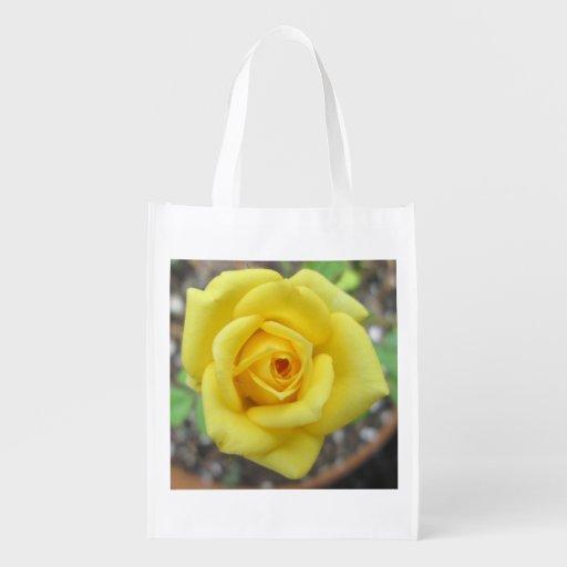 Rose Garden Flower Mini Yellow Market Totes