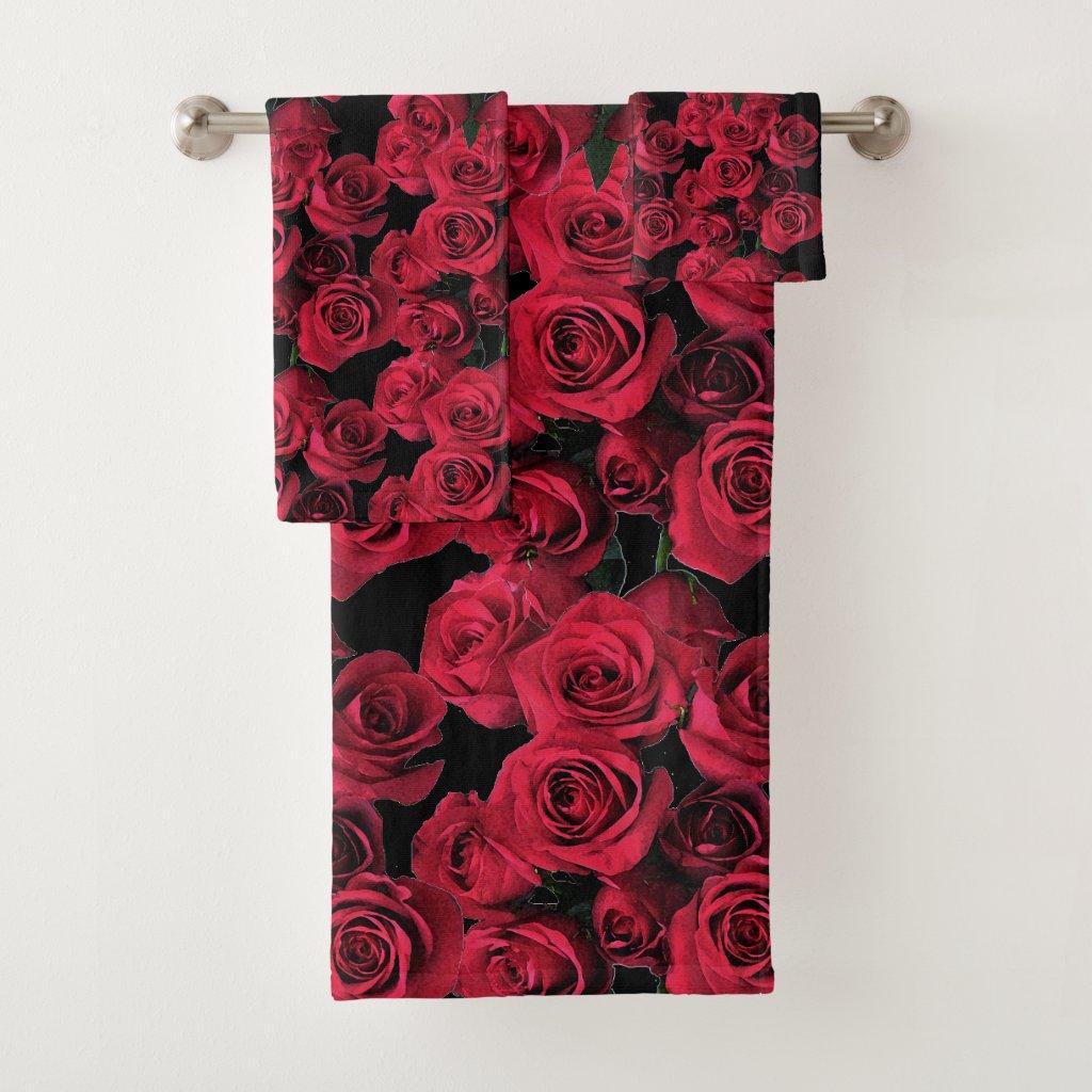 Rose Garden Flowers Red Floral Towel Set