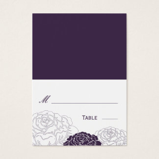 Rose Garden Folded Wedding Place Card - Purple