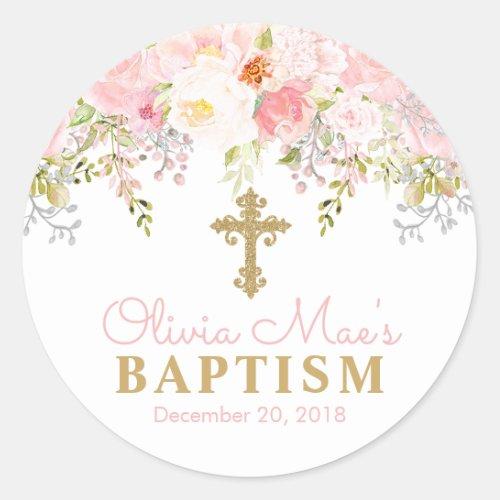 Rose Garden Girl Baptism Favor Tag Stickers