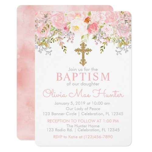 Rose Garden Girl Baptism Invitation