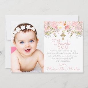 Rose Garden Girl Baptism Photo Thank You Card
