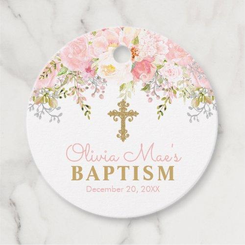 Rose Garden Girl Baptism Pink & Gold Favor Tags