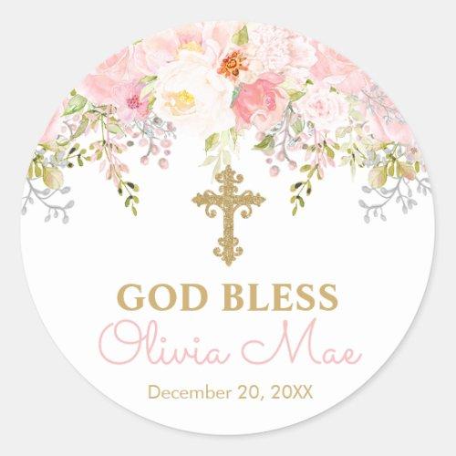 Rose Garden Girl God Bless Baptism Favor Stickers