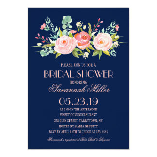 Rose Garden Midnight Blue | Bridal Shower Card
