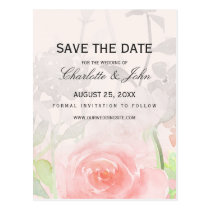 Rose Garden Modern Floral save the dates Postcard