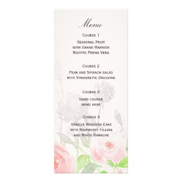 Rose Garden Modern Floral wedding menu