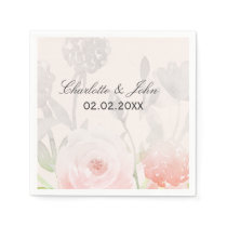 Rose Garden Modern Floral wedding napkin
