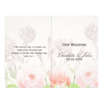 Rose Garden Modern Floral wedding program