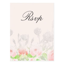 Rose Garden Modern Floral wedding rsvp Postcard